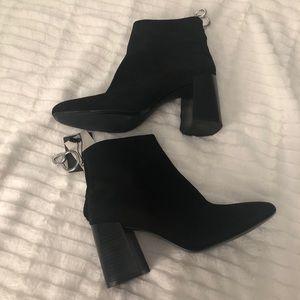 Zara Black Suede Booties With Ring Zipper Pulls